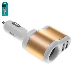Автомобільний зарядний пристрій Hoco UC206, USB вихід 5В 1A 2.1А, золотисте, біле