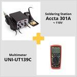 Combo: Accta 301A Hot Air Rework Station (110 V) + UNI-T UT139C Digital Multimeter